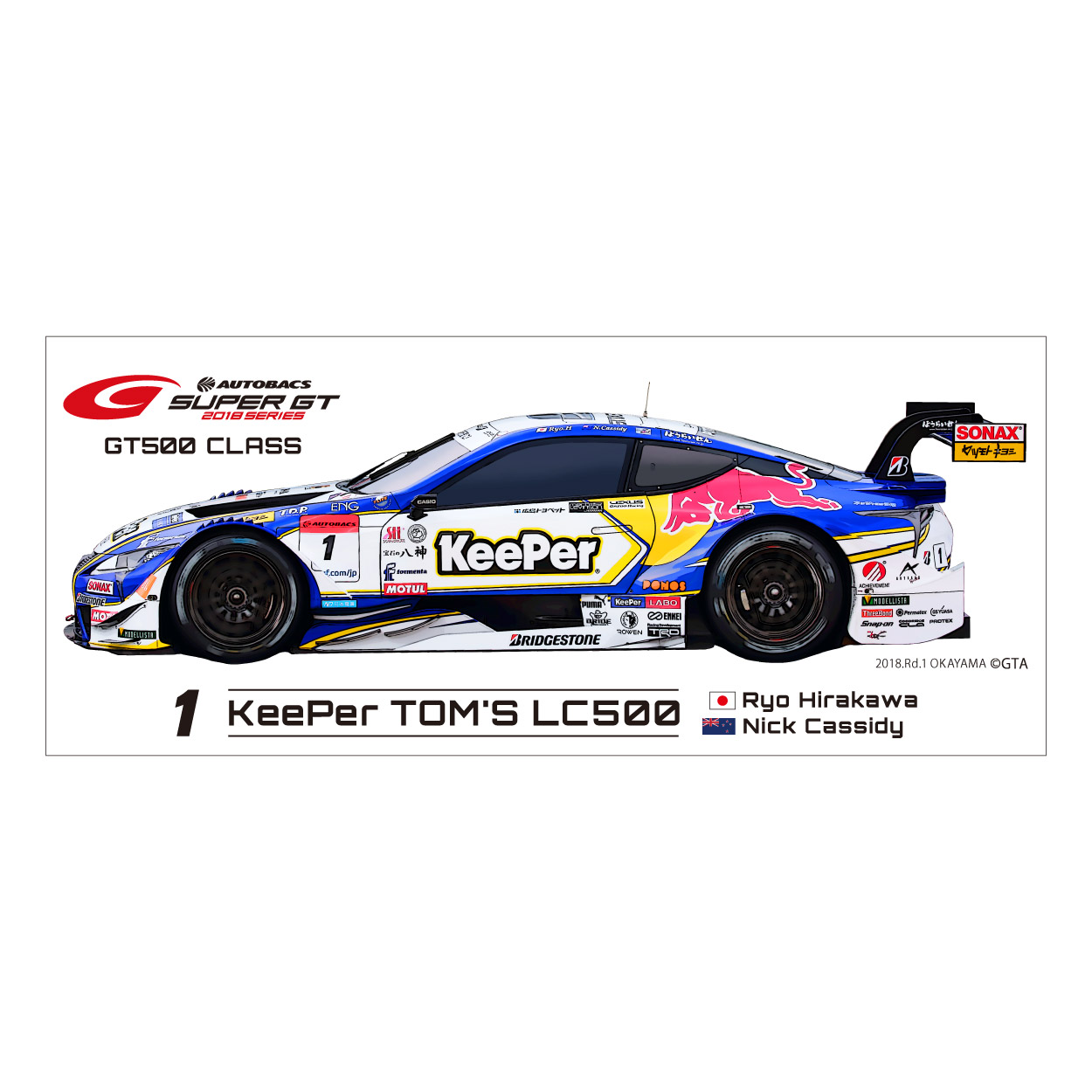 2018 SUPER GT  GT 500 ワイドステッカー(#1) KeePer TOM'S LC500