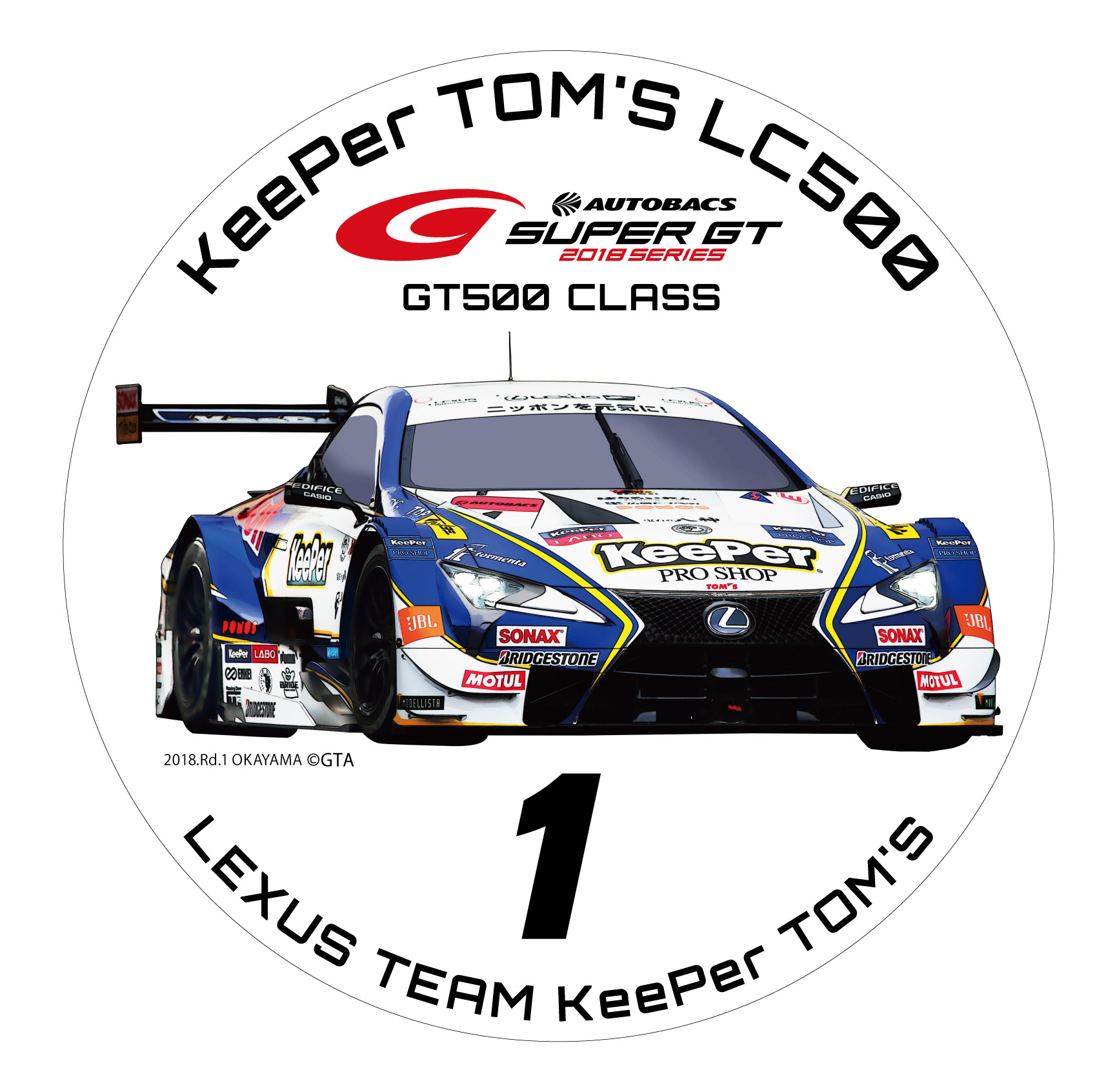 2018 SUPER GT  GT 500 ラウンドステッカー(#1) KeePer TOM'S LC500