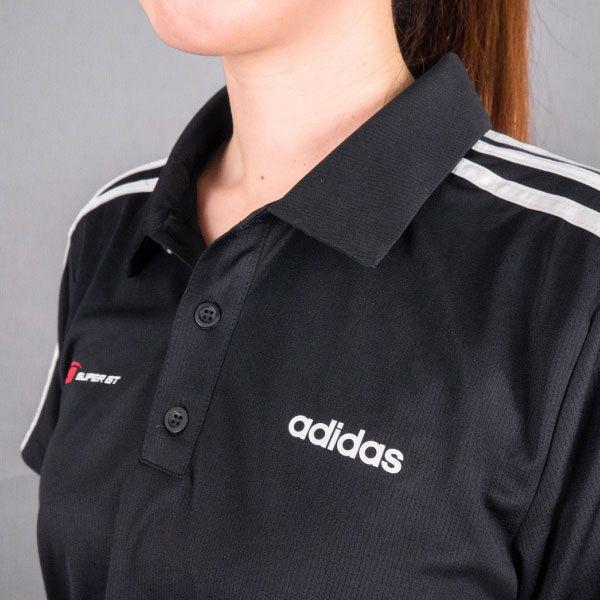 adidas 3ストライプスポロシャツ(ブラック/Lサイズ)