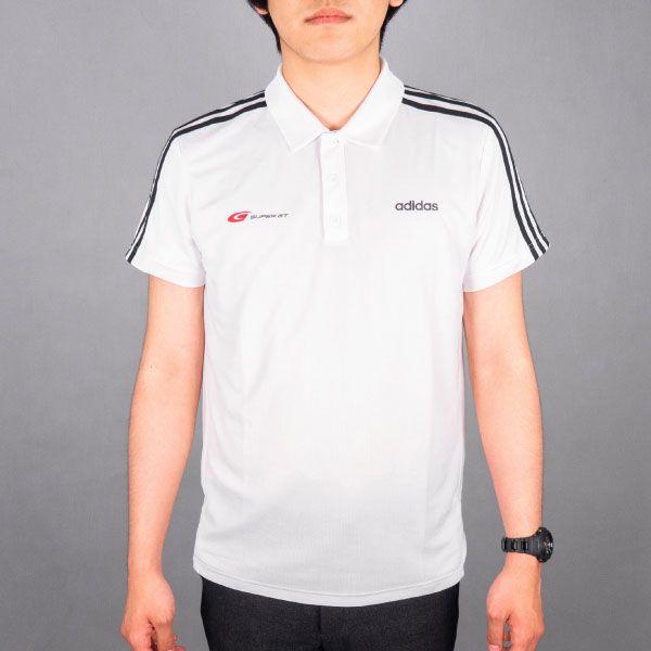 adidas 3ストライプスポロシャツ(ホワイト/Lサイズ)