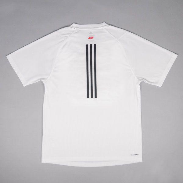 adidas バック3ストライプスTシャツ(ホワイト/Oサイズ)