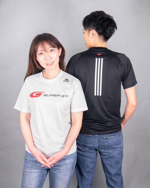 adidas バック3ストライプスTシャツ(ブラック/Oサイズ)