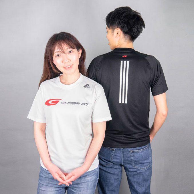 adidas バック3ストライプスTシャツ(ホワイト/Lサイズ)