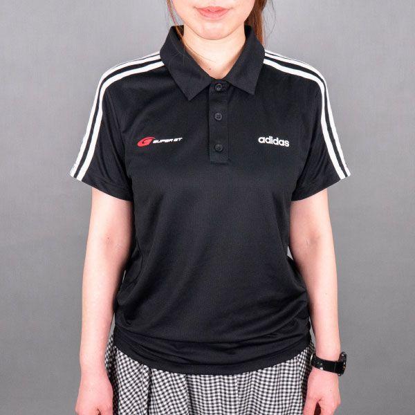 adidas 3ストライプスポロシャツ(ブラック/Mサイズ)