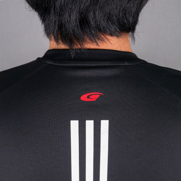 adidas バック3ストライプスTシャツ(ブラック/XOサイズ)