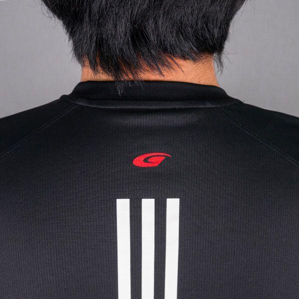 adidas バック3ストライプスTシャツ(ブラック/Lサイズ)
