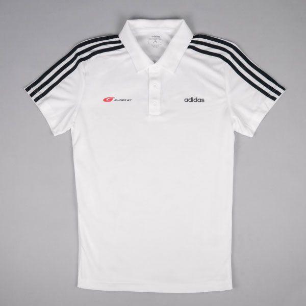 adidas 3ストライプスポロシャツ(ホワイト/Mサイズ)
