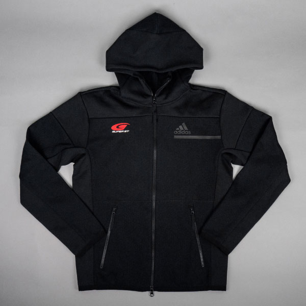 adidas フルジップフーディー(ブラック/XOサイズ)