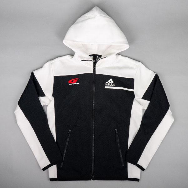adidas フルジップフーディー(ホワイト/Lサイズ)